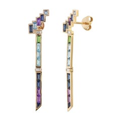 Topaz Blue Sapphire Amethyst Diamond Yellow Gold Earrings