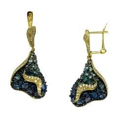 Topaz Blue Sapphire Diamond Designer Three-Stone Yellow Gold Dangle Earrings