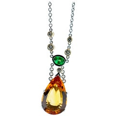 Topaz, Diamond and Tsavorite Necklace in Platinum Estate
