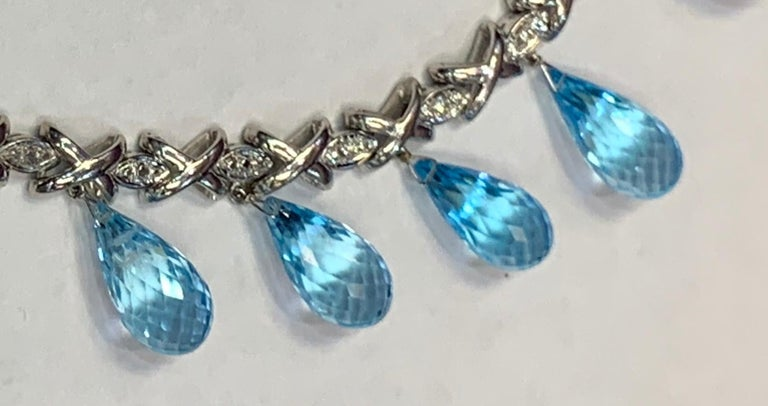 Topaz and Diamond Drop Necklace For Sale 5