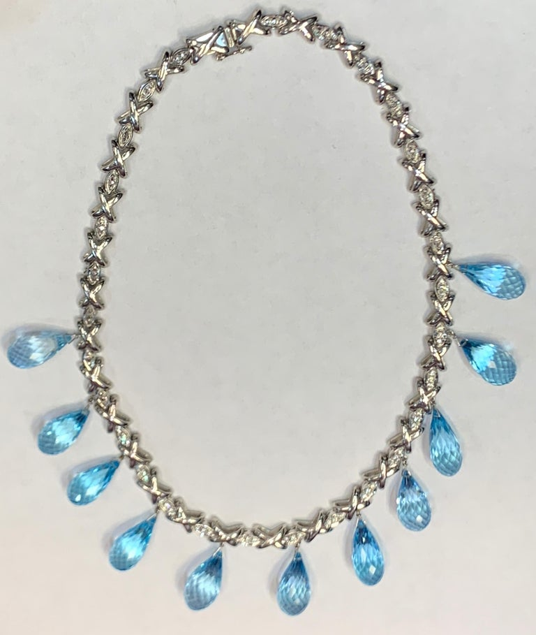 Topaz & Diamond Drop Necklace 18K White Gold  Topaz Weight: 147.50 Cts Diamond Weight: .45 Cts Length: 15.5 Inches