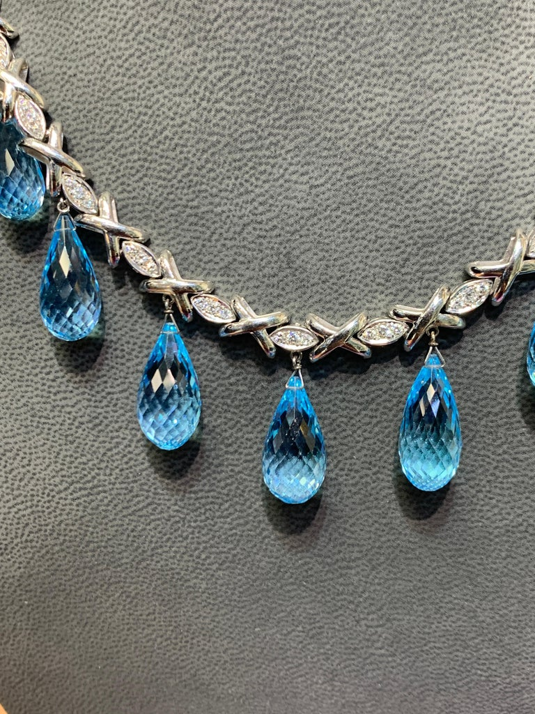 Topaz and Diamond Drop Necklace For Sale 2