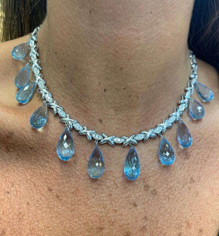 Topaz and Diamond Drop Necklace For Sale 3