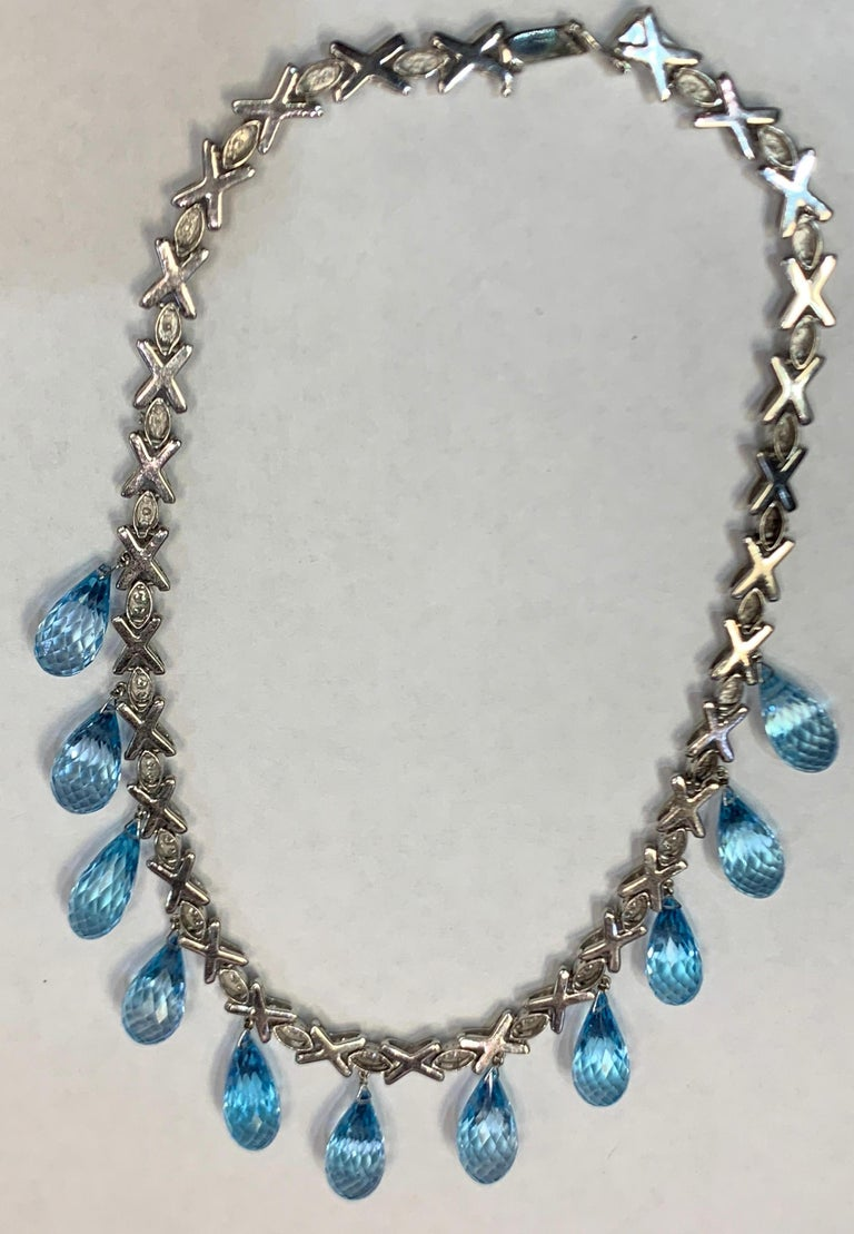 Topaz and Diamond Drop Necklace For Sale 4