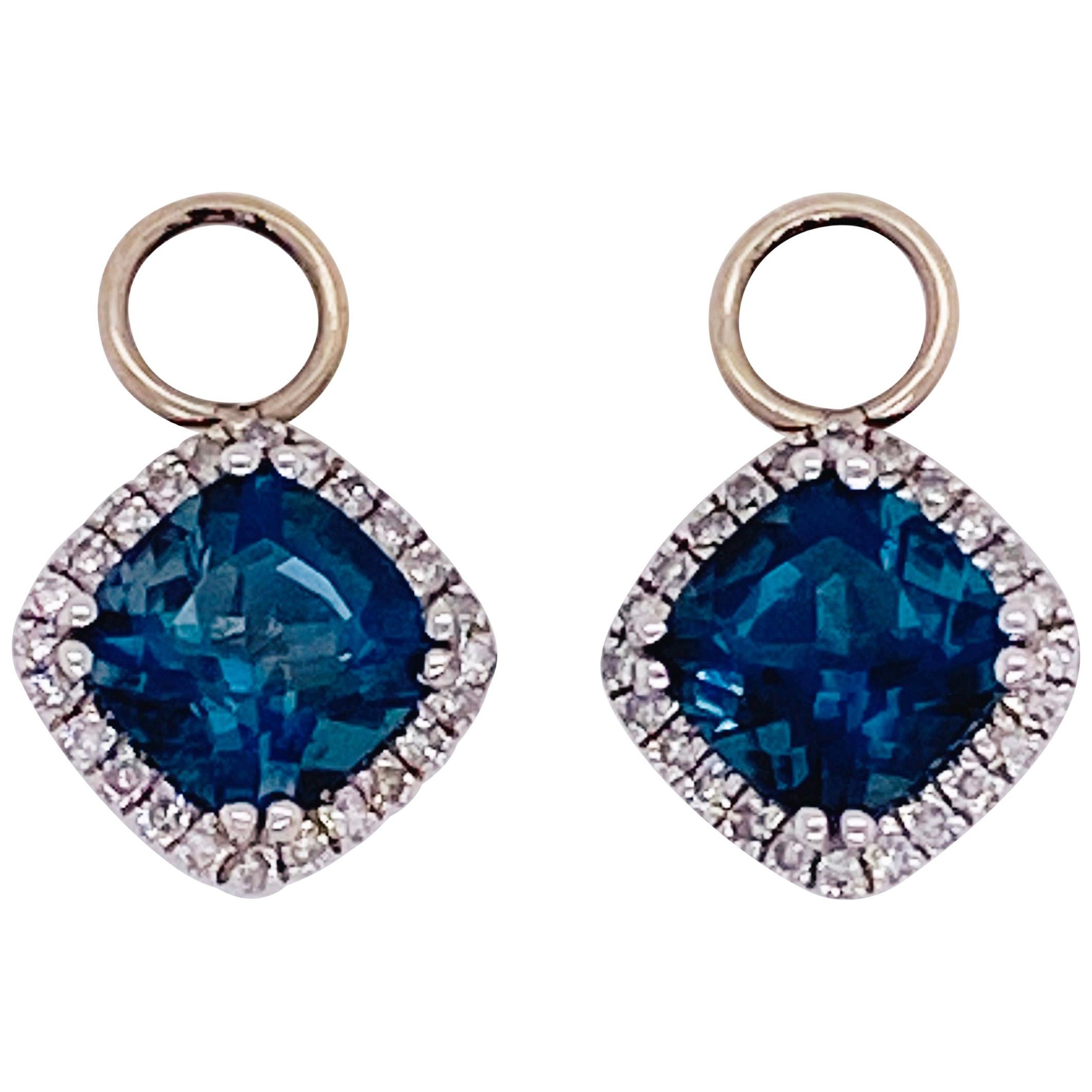 Topaz Diamond Earring Charms, 14k White Gold with Royal London Blue Topaz Hoops