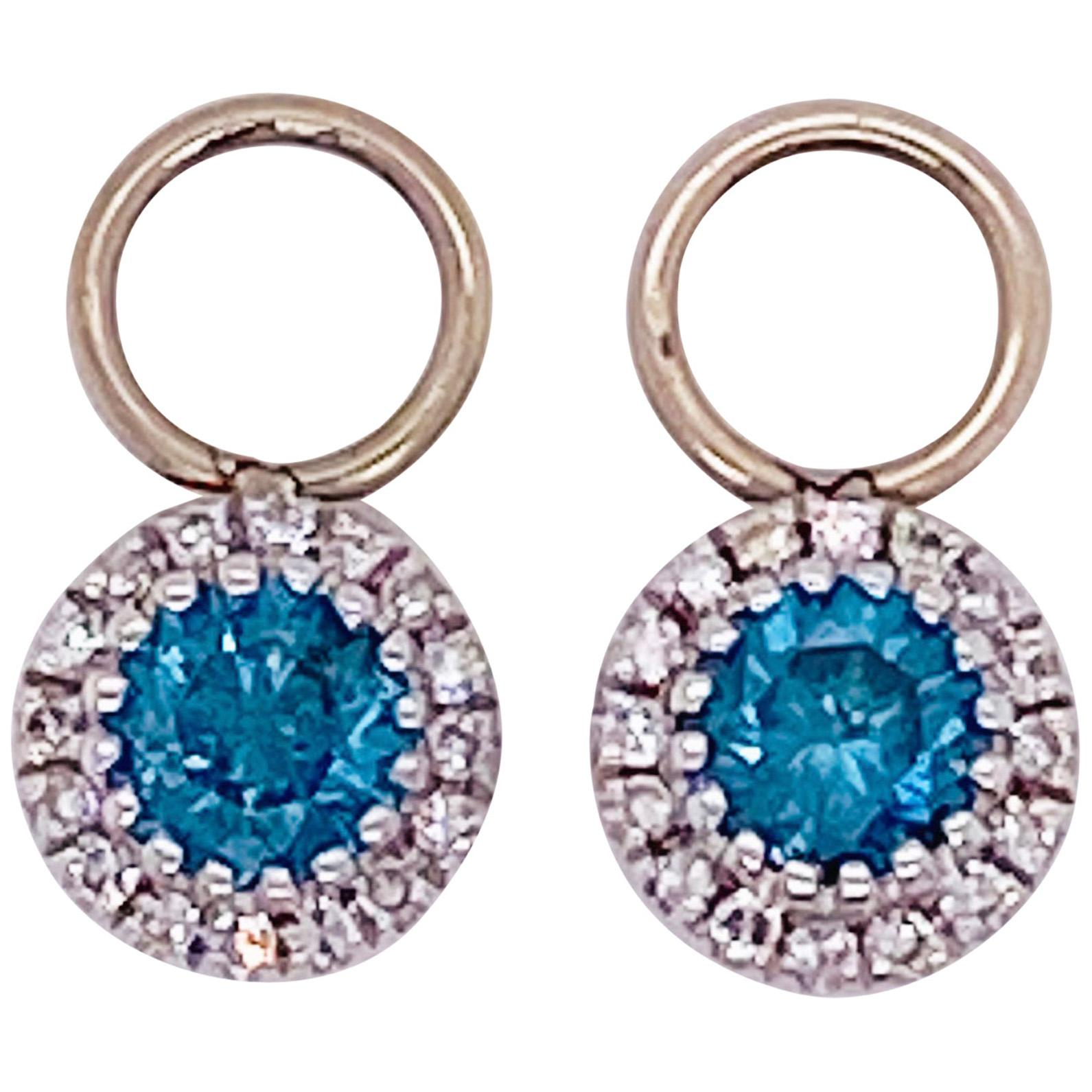 Topaz Diamond Earring Charms, Blue Topaz, 14 Karat Gold, Hoop Charm, .79 Carat