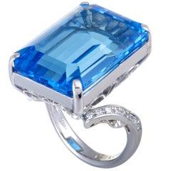 Topaz Diamond Platinum Cocktail Ring