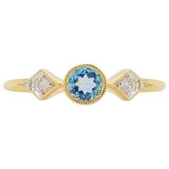 Topaz Diamond Ring, Swiss Blue Three-Stone Ring Bezel Set w .42 Carats in Sz 6.5