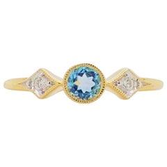 Topaz Diamond Ring, Swiss Blue Three-Stone Ring Bezel Set w .42 Carats