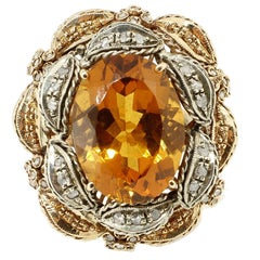 Topaz Diamond Silver Gold Cocktail Ring