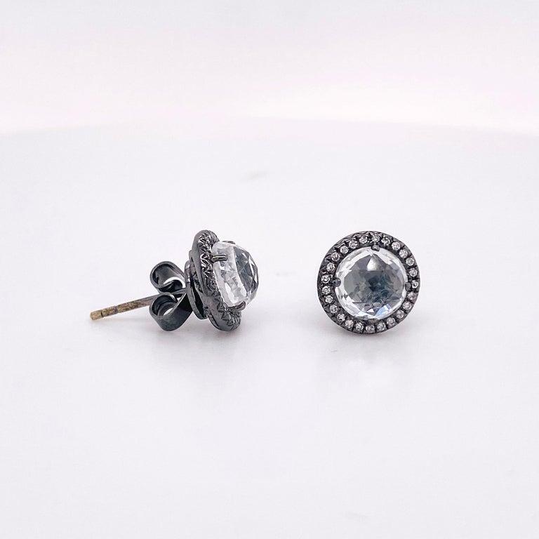Modern Topaz Diamond Studs Earrings, Halo of Diamonds, 2.50 Carat White Topaz, Black For Sale