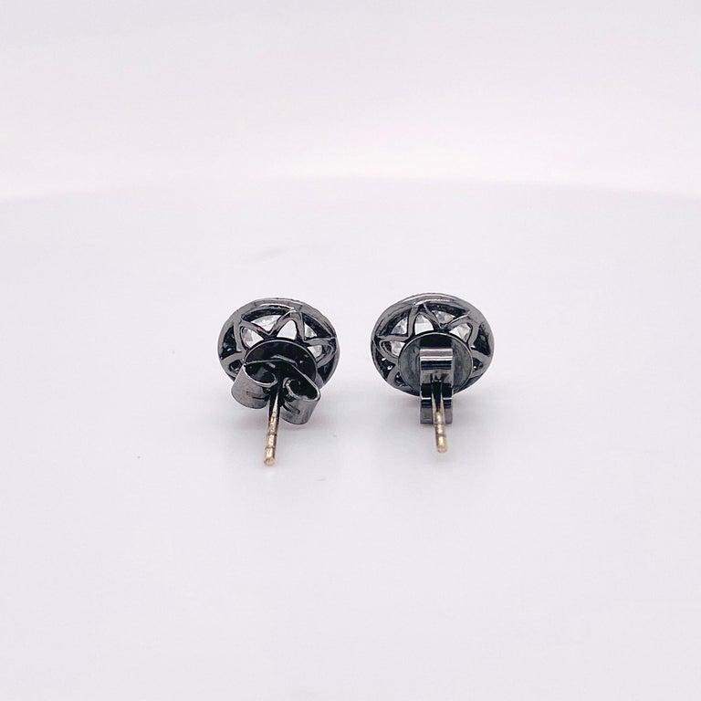 Round Cut Topaz Diamond Studs Earrings, Halo of Diamonds, 2.50 Carat White Topaz, Black For Sale