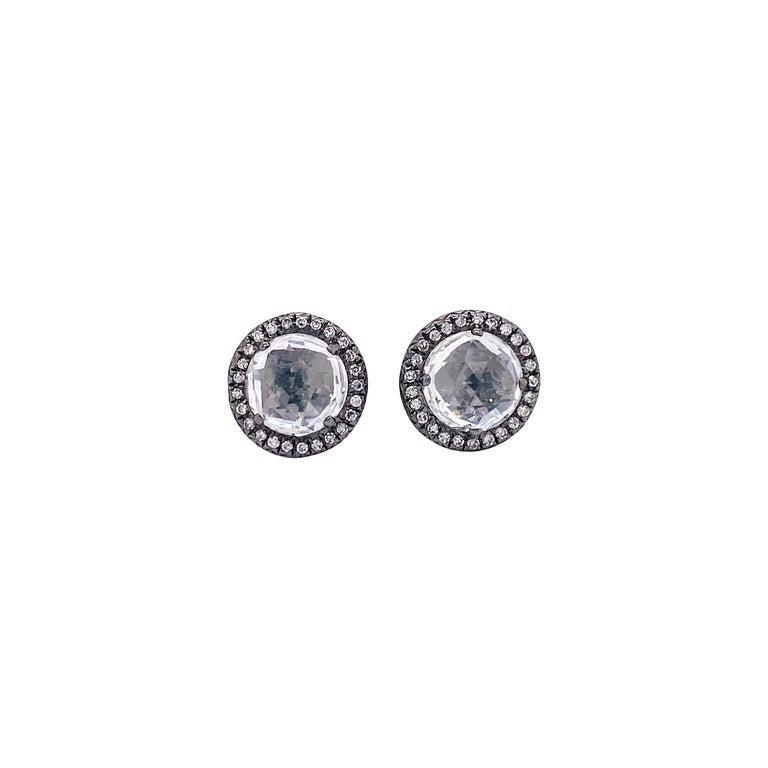 Topaz Diamond Studs Earrings, Halo of Diamonds, 2.50 Carat White Topaz, Black For Sale