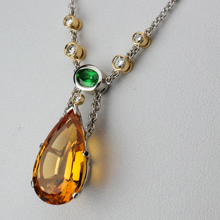 Contemporary Topaz, Diamond and Tsavorite Necklace in Platinum Estate For Sale