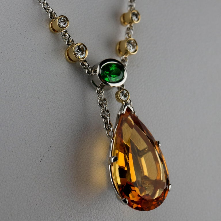 Topaz, Diamond and Tsavorite Necklace in Platinum Estate In Excellent Condition For Sale In Southbury, CT