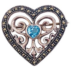Topaz Heart Brooch in Sterling Silver with Blue Topaz and Heart