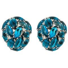 Topaz London Blue and Diamond White Gold Ear Clips