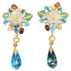 Topaz, Multi Gem and Diamond Flower Drop Earrings
