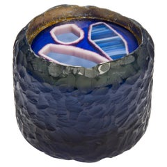 Topaz Murini Agate Jar, a Blue & Purple Cast Glass Sculpture by Angela Jarman