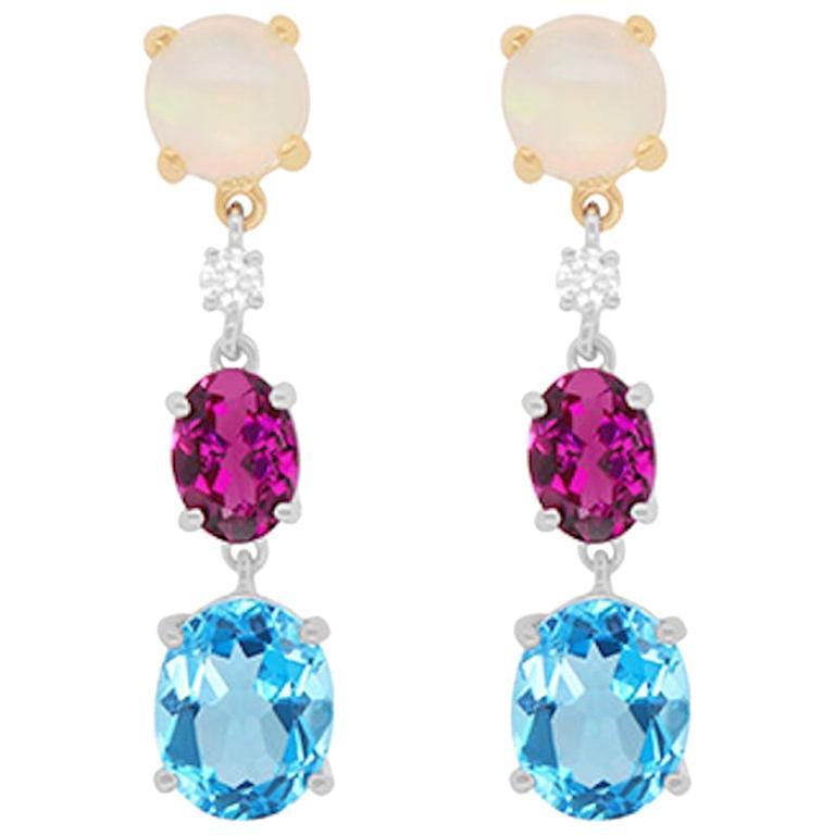 Topaz, Pink Tourmaline, Opal and Diamond Drop Earrings 14K White Yellow Gold