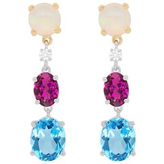 Topaz, Pink Tourmaline, Opal and Diamond Drop Earrings