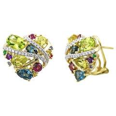 Topaz Quartz Chrysolite Tourmaline Emerald Sapphire Diamond Gold Earrings
