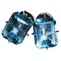 Topaz White Gold Stud Earrings Colored stones Octagon Cut Gem Clear Blue Water