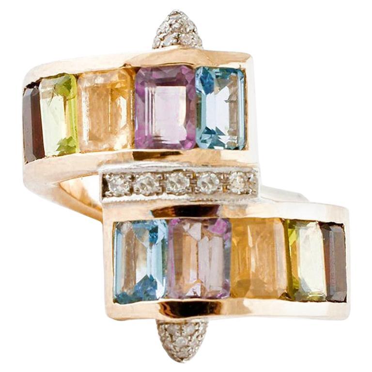 Topazes, Amethyst, Garnets, Aquamarine, Diamonds Yellow Gold Vintage