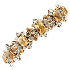 Topazes, Aquamarines, Diamonds, Rose Gold and Silver Retro Bracelet