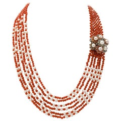 Topazs Emeralds Sapphires, Corals, Pearls, 9 Karat Rose Gold and Silver Necklace