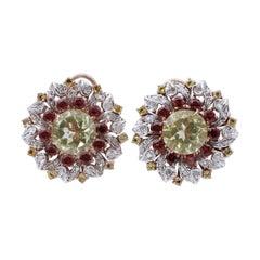 Topazs, Garnets, Diamonds, 9 Karat Rose Gold and Silver Stud Earrings