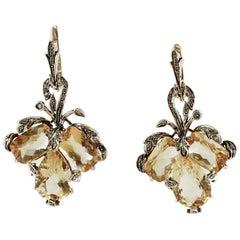 Topazs, Little Diamonds, 9 Karat Rose Gold and Silver Level Back/Dangle Earrings
