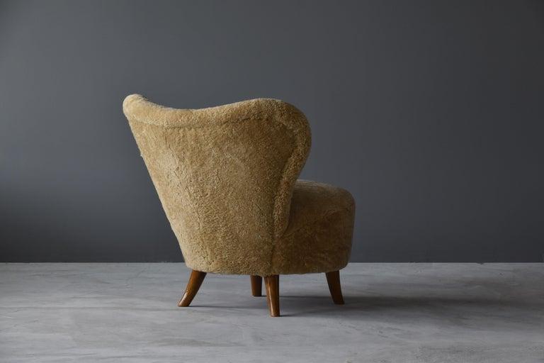 Swedish Tor Wolfenstein, Organic Lounge Chair, Sheepskin, Stained Beech, Ditzinger, 1940 For Sale