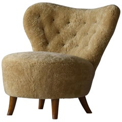 Tor Wolfenstein, Organic Lounge Chair, Sheepskin, Stained Beech, Ditzinger, 1940