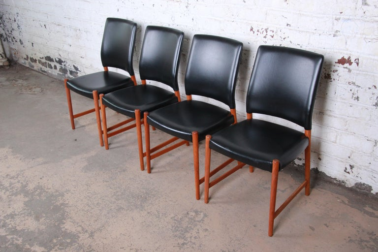 Scandinavian Modern Torbjorn Afdal Teak and Black Leather Dining Chairs, Set of Four For Sale