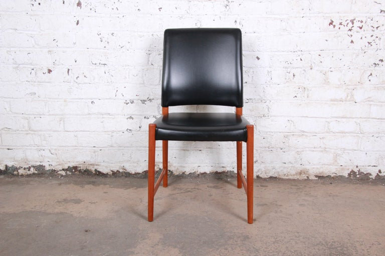 Norwegian Torbjorn Afdal Teak and Black Leather Dining Chairs, Set of Four For Sale