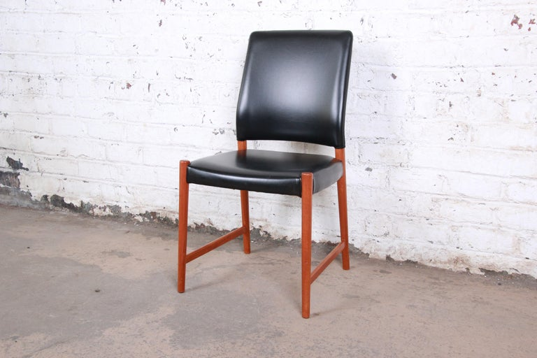 Torbjorn Afdal Teak and Black Leather Dining Chairs, Set of Four In Good Condition For Sale In South Bend, IN