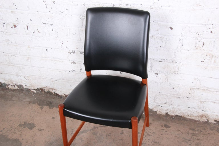 Torbjorn Afdal Teak and Black Leather Dining Chairs, Set of Four For Sale 1