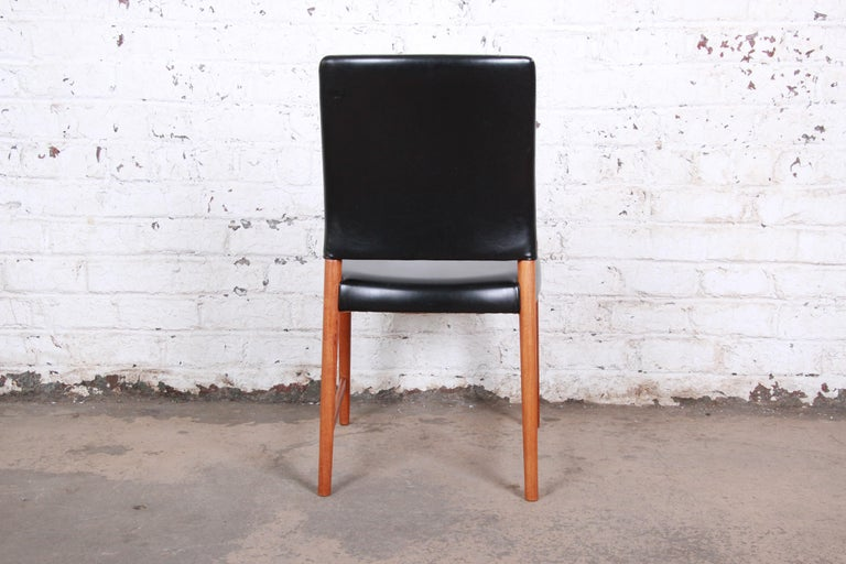 Torbjorn Afdal Teak and Black Leather Dining Chairs, Set of Four For Sale 2