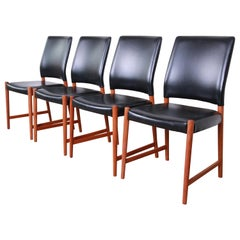 Torbjorn Afdal Teak and Black Leather Dining Chairs, Set of Four