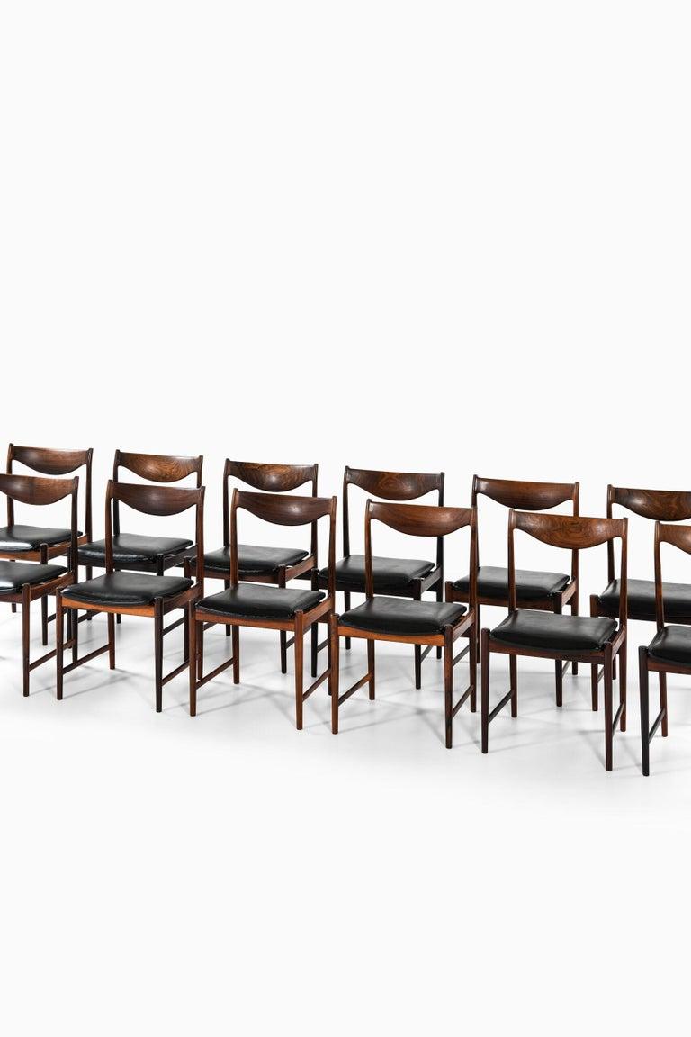 Very rare set of 12 dining chairs model Darby designed by Torbjørn Afdal. Produced by Nesjestranda Møbelfabrik in Norway.