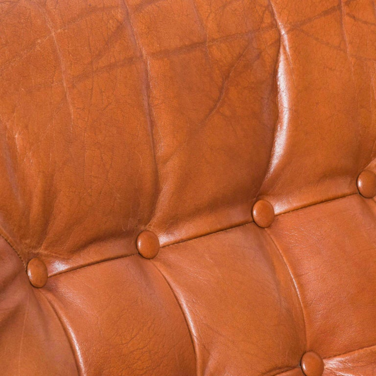 Torbjørn Afdal for Bruksbo Danish Leather Padded Armchair Lounge For Sale 3