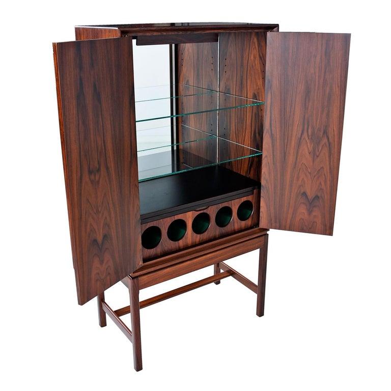 Scandinavian Modern Torbjørn Afdal for Bruksbo Lighted Rosewood Liquor Cabinet Bar Cabinet For Sale