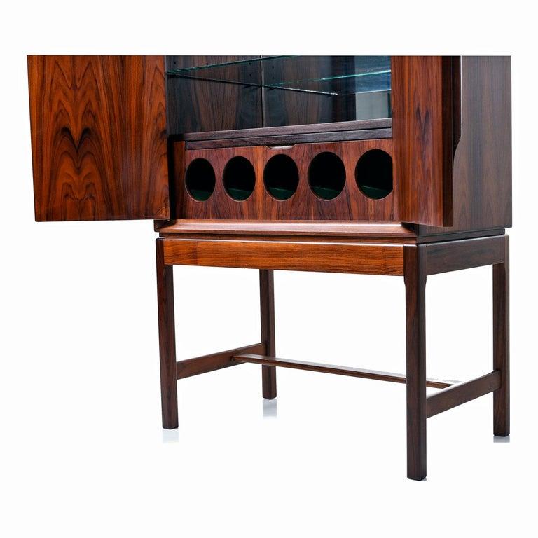 Torbjørn Afdal for Bruksbo Lighted Rosewood Liquor Cabinet Bar Cabinet In Excellent Condition For Sale In Saint Petersburg, FL