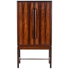 Torbjørn Afdal for Bruksbo Lighted Rosewood Liquor Cabinet Bar Cabinet