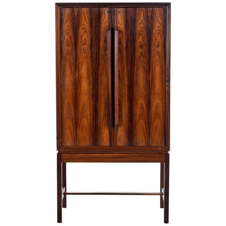 Torbjørn Afdal for Bruksbo Lighted Rosewood Liquor Cabinet Bar Cabinet For Sale