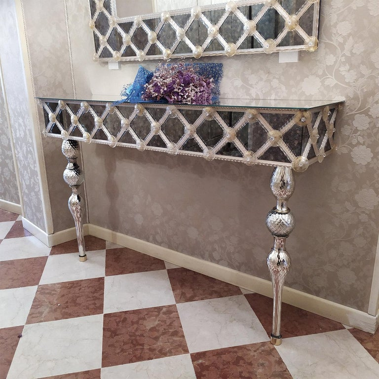 Modern Torcello Murano Glass Console For Sale