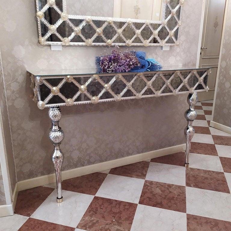 Italian Torcello Murano Glass Console For Sale