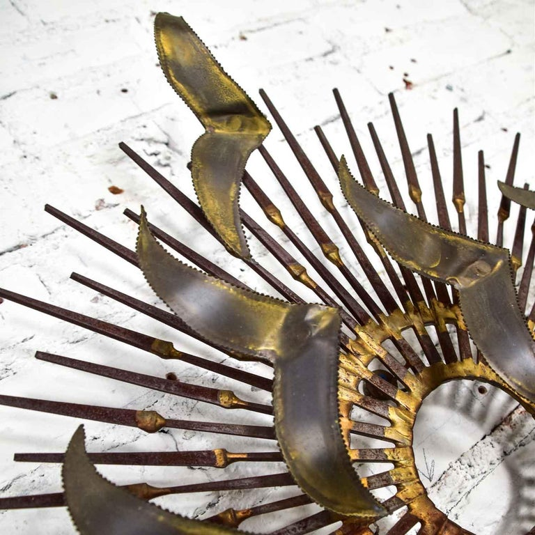 Torch Cut Brass Birds on Starburst Nail Wall Art Style Seandale, Bowie or Jere For Sale 9
