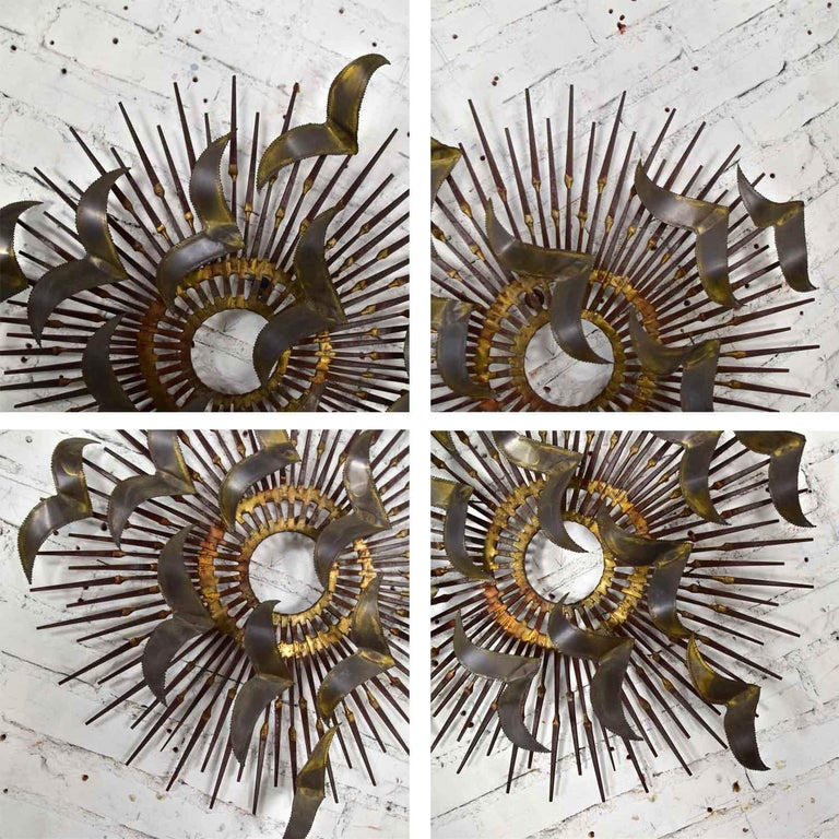 Torch Cut Brass Birds on Starburst Nail Wall Art Style Seandale, Bowie or Jere For Sale 12
